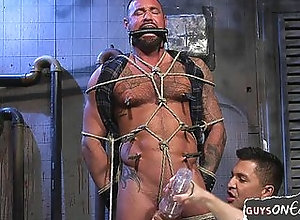bdsm,bondage,fetish,gay,hunk,masturbation,tattoo,rope,gay Tied up bdsm bear...