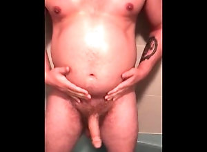 belly-inflation;shower-hose-enema;belly-play;fat-pig,Fetish;Solo Male;Gay;Bear;Chubby;Verified Amateurs Piggy shower hose...